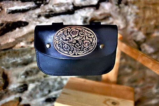 Pochette ceinture noire, motif fleurs