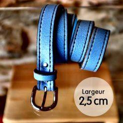 Ceinture en cuir bleu ciel façon couture (2,5cm)