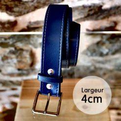 Ceinture en cuir bleu marine façon couture (2,5cm)