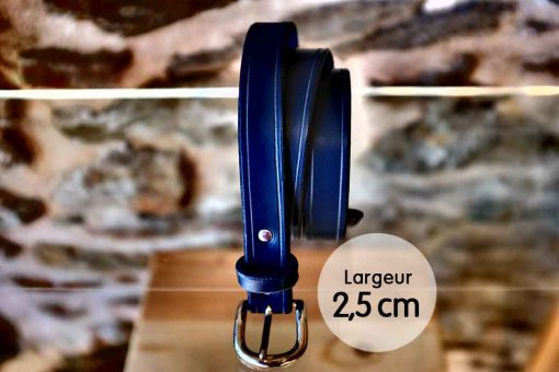 Ceinture en cuir bleu marine finition liseret (2,5cm)