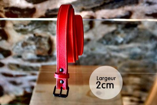 Ceinture en cuir rouge anglais finition liseret (2,5cm)