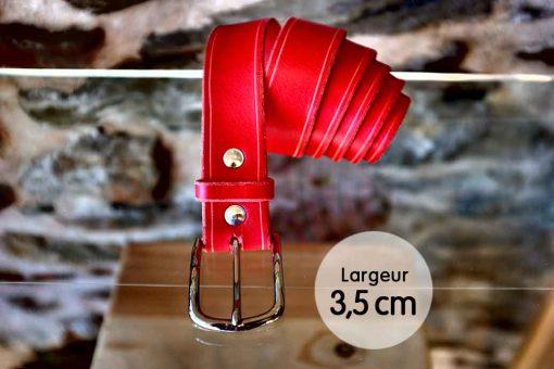 Ceinture en cuir rouge anglais finition liseret (3,5cm)