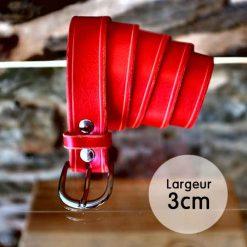 Ceinture en cuir rouge anglais finition liseret (3cm)