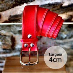 Ceinture en cuir rouge anglais finition liseret (4cm)