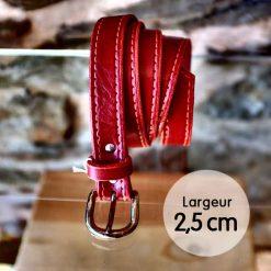 Ceinture en cuir rouge coquelicot façon couture (2,5cm)