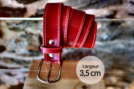 Ceinture en cuir rouge coquelicot façon couture (3,5cm)
