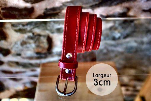 Ceinture en cuir rouge coquelicot façon couture (3cm)