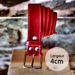 Ceinture en cuir rouge coquelicot façon couture (4cm)