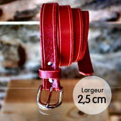 Ceinture en cuir rouge coquelicot finition liseret (2,5cm)