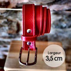 Ceinture en cuir rouge coquelicot finition liseret (3,5cm)