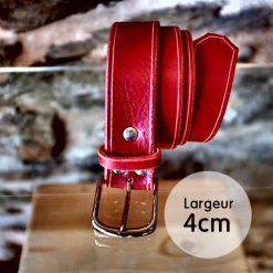 Ceinture en cuir rouge coquelicot finition liseret (4cm)