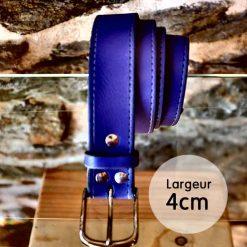 Ceinture en cuir violet façon couture (4cm)